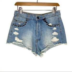 Eunina High Rise Distressed Studded Jean Shorts